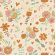 Stylish vintage seamless pattern with cute flowers — Stock Vector #44299521