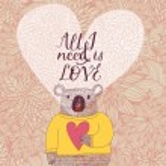 Concept romantic card with cute koala bear — Stock Vector