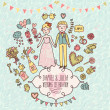 Wedding vector card in vintage style. — Stock Vector