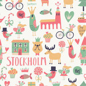 Stockholm concept seamless pattern in vector. — Stock Vector