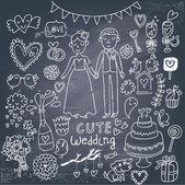 Vintage wedding set in cartoon style — Stock Vector