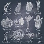 Tasty vegetables in vector set — Stock Vector