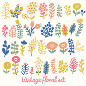 Vintage floral set. A lot of flowers in vector. — Stock Vector
