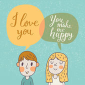 Cute vector card with boy and girl in love. — Stock Vector