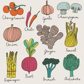 Tasty vegetables in bright set — Stock Vector