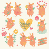 Nine cute pigs angels with hearts, balloon, flowers — Cтоковый вектор