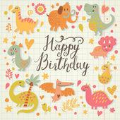 Happy birthday card in cartoon style. — Stock Vector