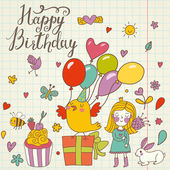 Happy birthday concept card. — Stock Vector