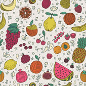 Tasty seamless pattern made of fruits and berries. — Stock Vector