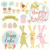 Happy Easter vector set in vector. — Stock Vector