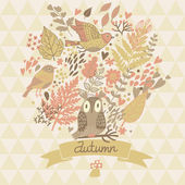 Stylish autumn concept card made of leafs and birds — Stock Vector