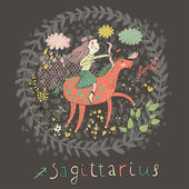 Cute zodiac sign - Sagittarius. — Stock Vector
