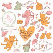 Valentines Day cartoon vector set in romantic colors. — Stockvektor