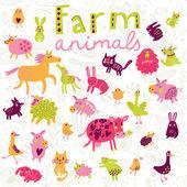 Komik çiftlik hayvanları vektör küme. — Stok Vektör