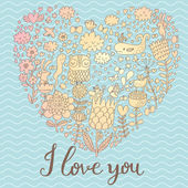 I love you - concept card in modern stylish colors. — Stock Vector
