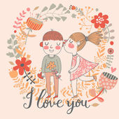 I love you - bright concept cartoon card in vector. — Stock Vector