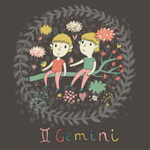 Cute zodiac sign - Gemini. — Vecteur
