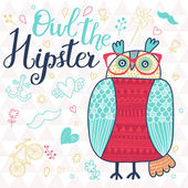Owl the hipster. — Stock Vector