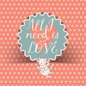 Vintage romantic sticker with cute cartoon cupid cat. — Stock Vector