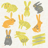 Set of eight cute rabbits in bright colors. — Stock Vector