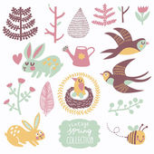 Vintage spring collection. — Stock Vector