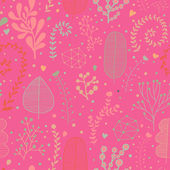 Stylish floral seamless pattern in bright pink colors. — Stock Vector