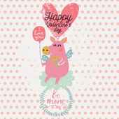 Cute piglet angel in cartoon style. — Stock Vector