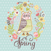 Spring concept card in gentle colors. — Stock Vector