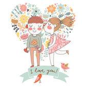 I love you! Cute cartoon romantic card — Stock Vector
