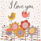 Gentle cartoon birds on flowers in vector. — Stock Vector