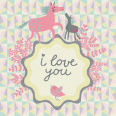 Horse mother and cute foal on stylish vector card. — Stock Vector