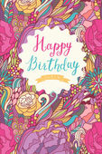 Happy birthday card in fantastic bright colors. — Stock Vector