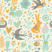 Birds swallows, rabbits, bee and flowers. — Stock Vector
