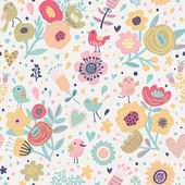 Stylish floral seamless pattern with birds — Stock Vector