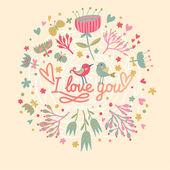 Szeretlek. elegáns virág kártya vector aranyos vicces madaraka. — Stok Vektör