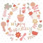 Bright floral Happy Birthday card in vector. — Stock Vector #44300667