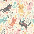 Childish seamless pattern with funny cats — Stock Vector