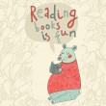 Reading books is fun - cartoon stylish card — Stock Vector