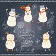 Funny cartoon snowmen holiday set. — Stock Vector