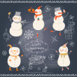 Funny cartoon snowmen holiday set. — Stok Vektör #44301637
