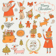 Stylish New Year and Christmas set in vector. — Stock Vector