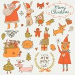 Stylish New Year and Christmas set in vector. — Stock Vector #44301789