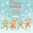 Funny children in Merry Christmas card. — Stock Vector