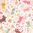 Bright childish seamless pattern with birds, cats and funny dogs — Stock Vector #44302363