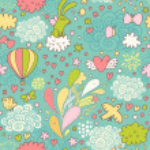 Cute air seamless pattern with hot air balloon, birds — Stock Vector #44302557