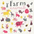 Funny farm animals in vector set. — Vector de stock  #44302789