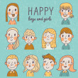 Happy boys and girls in vector set. — Stock Vector