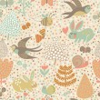 Cute seamless pattern with birds swallows, rabbits, bees — Vecteur