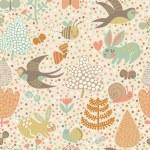 Cute seamless pattern with birds swallows, rabbits, bees — Stockvektor