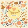 I love you - bright romantic card in vector. — Stock Vector